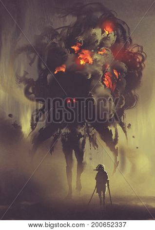 man holding twin swords standing with giant smoke monster, digital art style, illustration painting