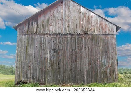 Back Side of Tall Gray Rustic Weathered Barn