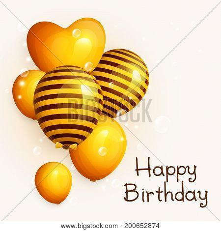Bunch of birthday yellow balloons with pattern. Flying soap bubbles on the background. Vector.