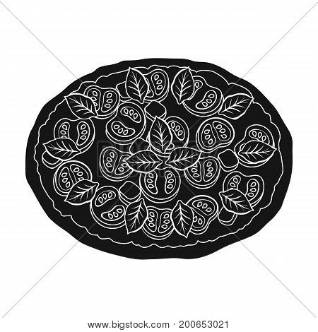Pizza with meat, cheese and other filling. Different pizza single icon in black style vector symbol stock illustration .