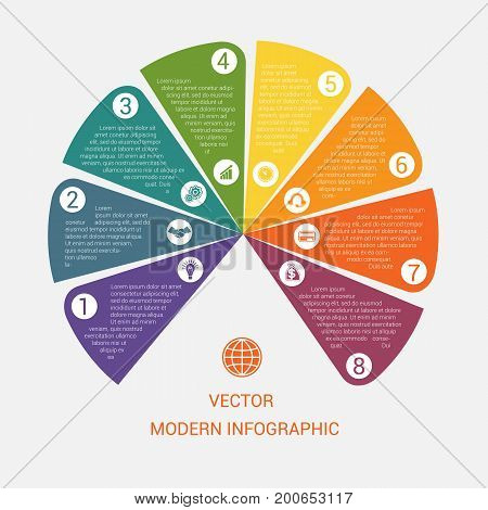 Business chart modern infographic vector template from color semicircle for 8 options processes workflow diagram flowchart