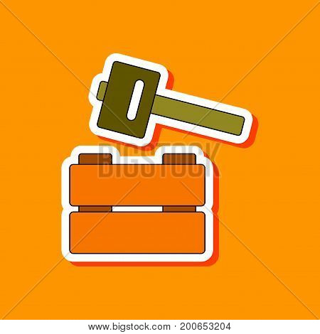 paper sticker on stylish background of Kids toy hammer