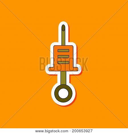 paper sticker on stylish background of Kids toy syringe
