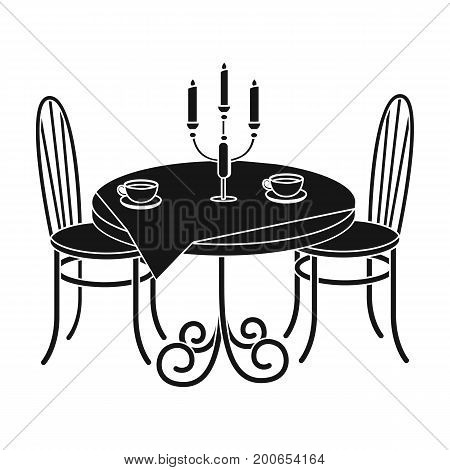 Served table in the restaurant. Furniture single icon in black style Isometric vector symbol stock illustration .