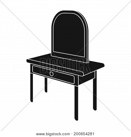 Dressing table with mirror. Furniture and interior single icon in black style Isometric vector symbol stock illustration .