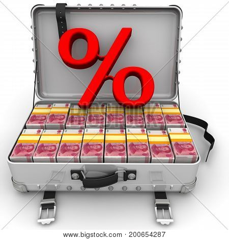 Advantageous percentage. Red percentage sign and a suitcase filled with packs of Chinese banknotes (yuan). Isolated. 3D Illustration