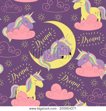 seamless pattern with sleeping unicorn  - vector illustration, eps
