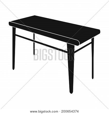 Wooden, dining table. Furniture and interior single icon in black style Isometric vector symbol stock illustration .
