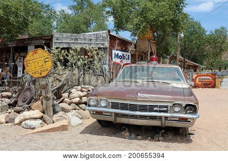 Hackberry, Arizona, USA - July 7, 2017: Old Chevy Automobile at roadside memorabilia store along Route 66. The historic route 66 is now Freeway 40.