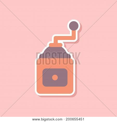 paper sticker on stylish background of coffee mill grinder