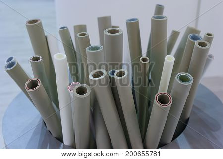 Sample of plumbing plastic pipes close-up. Industry
