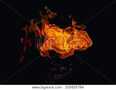 Bright dynamic fire on an isolated black background