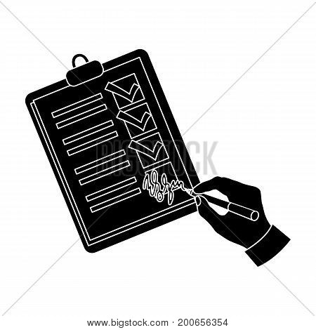 Signature of the delivery document. Logistics and delivery single icon in black style isometric vector symbol stock illustration .
