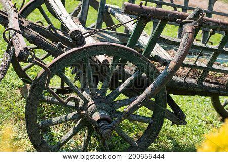 Old ladder wagon in Lazar Lovaspark, Hungary