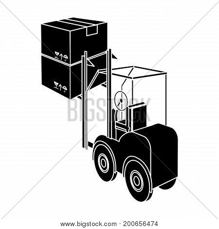 Cargo transportation by means of a loader. Transportation and delivery single icon in black style isometric vector symbol stock illustration .