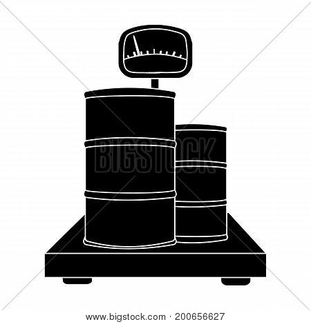 Weighing the load on the scales. Shipping and accounting single icon in black style isometric vector symbol stock illustration .