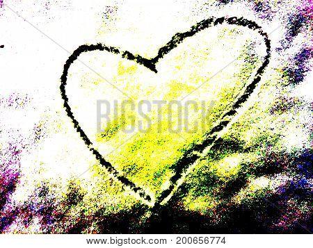 Eine Liebesbotschaft abstrakt dargestellt. Ein Herz im Farbrausch als Zeichen der Liebe