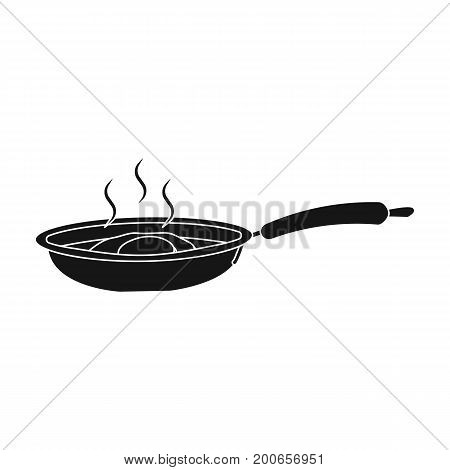 Frying pan, single icon in blakck style.Frying pan vector symbol stock illustration .