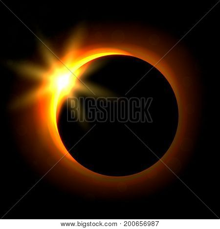 Solar eclipse image. Astronomical phenomenon of the closing of the shining sun by the moon. Vector illustration.