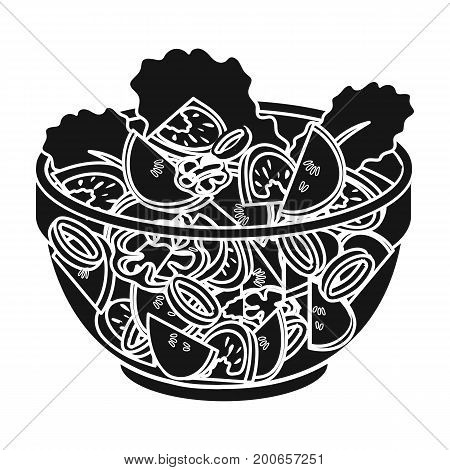 Delicious vegetable salad. Vegetarian food single icon in black style vector symbol stock illustration .