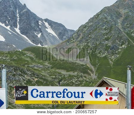 Col du Lautaret France - July 19 2014: Image of the banner signaling the arrival on the Col du Lautaret in Alps during the stage 14 of Le Tour de France 2014.