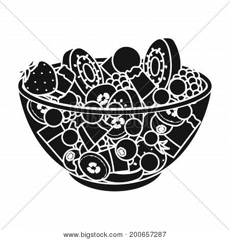 Salad from various kinds of fruit. Fruit single icon in black style vector symbol stock illustration .