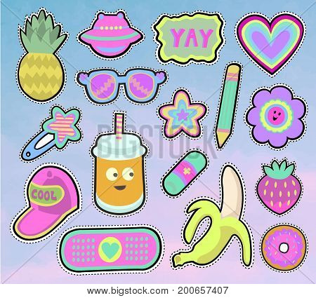 Cartoon kids stickers or patches set with pineapple, sunglasses, banana and other cute design elements in 80s 90s style.Isolated. Vector