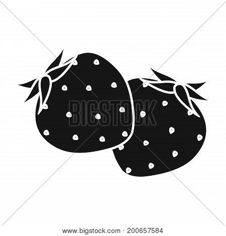 Strawberry, sweet and sour fruit.Fruit single icon in black style vector symbol stock illustration .