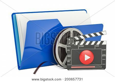 Blue computer folder icon with film reel and clapperboard 3D rendering