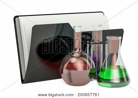Computer folder icon with glass flasks 3D rendering isolated on white background