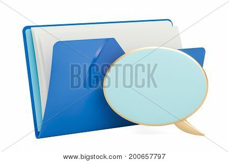 Computer folder icon with speech balloon 3D rendering isolated on white background