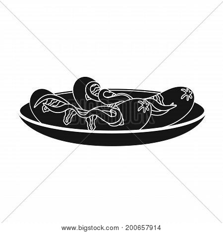 Tasty food, fried sausages. Eating and cooking single icon in black style vector symbol stock illustration .