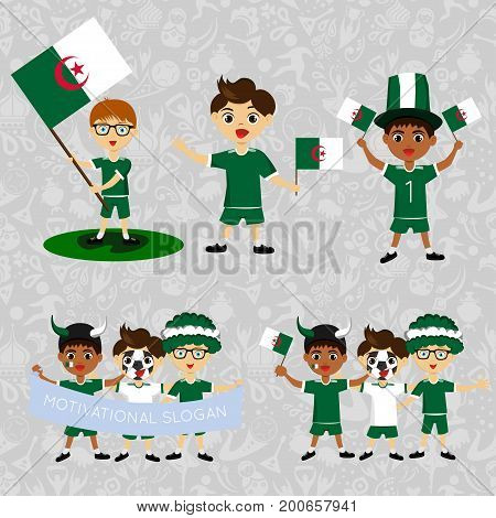 Set of boys with national flags. Blanks for the day of the flag independence nation day and other public holidays. The guys in sports form with the attributes of the national football team