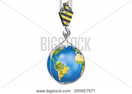 Crane hook with Earth globe 3D rendering isolated on white background