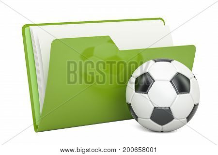 Folder icon with soccer ball 3D rendering isolated on white background