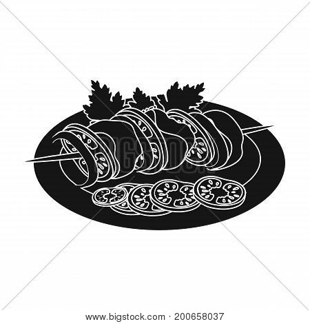 Delicious food, shish kebab and salad. Food and cooking single icon in black style vector symbol stock illustration .