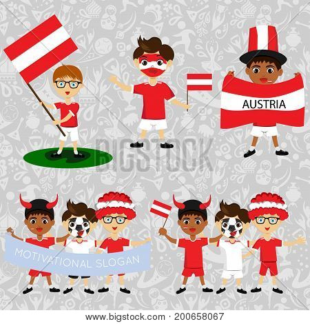 Set of boys with national flags of Austria.. Blanks for the day of the flag independence nation day and other public holidays. The guys in sports form with the attributes of the football team