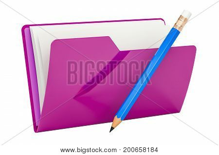 Purple computer folder icon with pencil 3D rendering isolated on white background