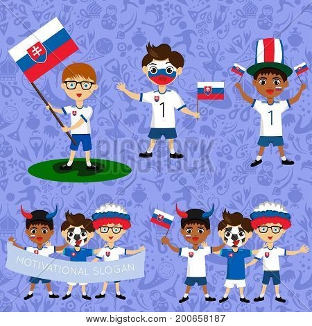 Set of boys with national flags of Slovakia. Blanks for the day of the flag independence nation day and other public holidays. The guys in sports form with the attributes of the football team