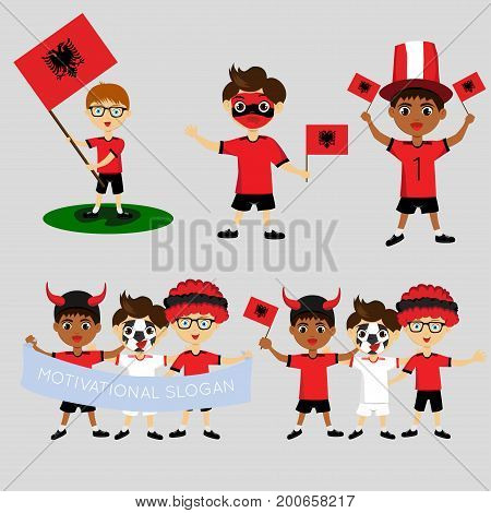Set of boys with national flags of Albania. Blanks for the day of the flag independence nation day and other public holidays. The guys in sports form with the attributes of the football team