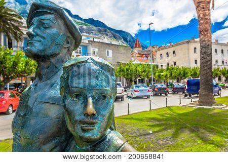 Scenic view at main promenade in Makarska city center ,popular tourist summer resort in Croatia.