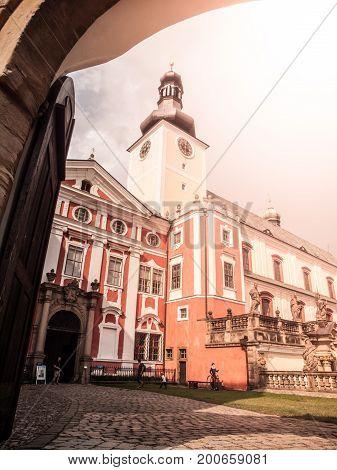 Benedictine monastery in Broumov with Church of St. Adalbert, Broumov, Czech Republic.