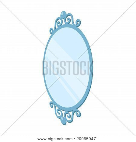 An elegant, oval-shaped mirror. Interior single icon in cartoon style Isometric vector symbol stock illustration .