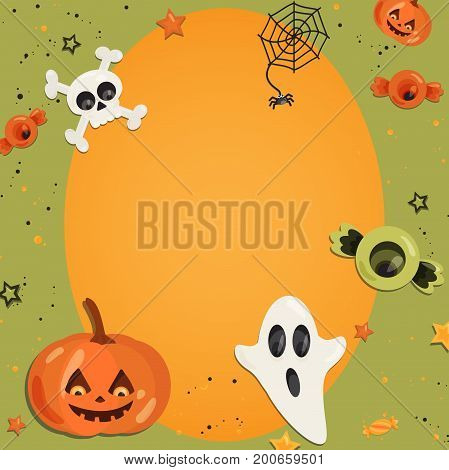 Halloween cartoon art in flat style. Orange background, frame with cute ghost, pumpkin, eye, bone, skull, sweet for text and design. Vector illustration.