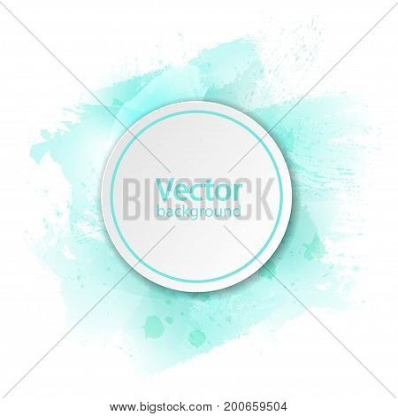 White paper circle banner with drop shadow on white background template with watercolor paint blob. Vector illustration