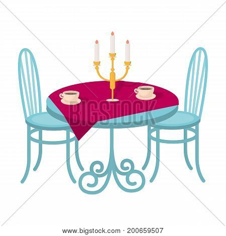 Served table in the restaurant. Furniture single icon in cartoon style Isometric vector symbol stock illustration .
