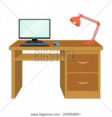 A desk with a computer and a desk lamp. Furniture and interior single icon in cartoon style Isometric vector symbol stock illustration .