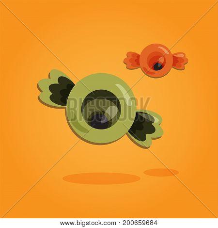 Halloween cartoon art in flat style. Orange background, Cute eye sweet for design. Vector illustration.