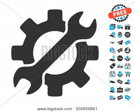 Configure Wrench And Gear grey icon with free bonus design elements. Vector illustration style is flat iconic symbols.