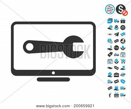 Desktop Configuration Wrench gray icon with free bonus design elements. Vector illustration style is flat iconic symbols.